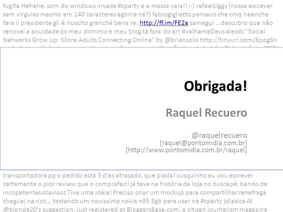 Obrigada! Raquel Recuero @raquelrecuero [raquel@pontomidia.com.br]